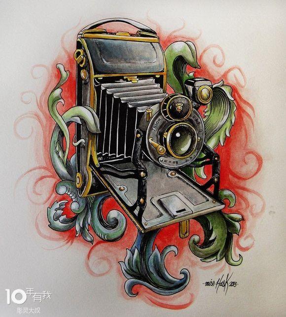 几张照相机纹身手稿图片