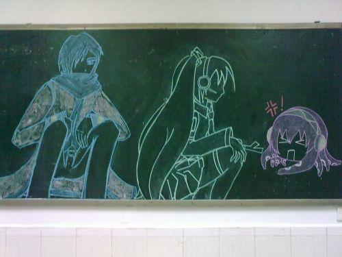【半成品】v家黑板报 首次粉笔画图片