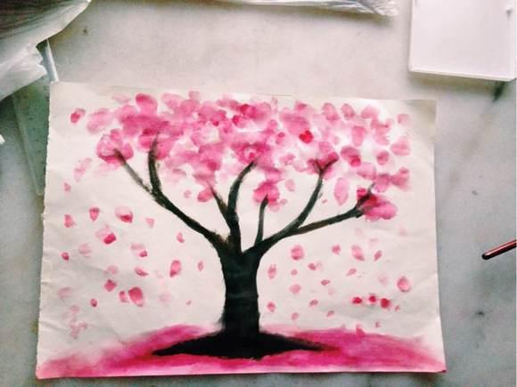 水粉画之樱花树.镇楼!图片