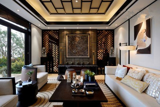 背景墙采用了窗棂设计,对称式的布局方式,格调高雅,造型简朴优高清图片