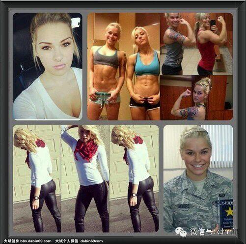 美国女大兵晒肌肉