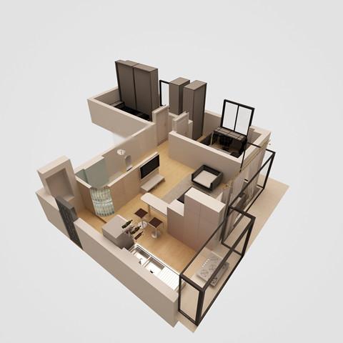 房屋地面除入户门厅外全部加高十五公分,用以进行入户和入室高清图片