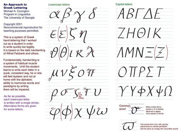 求教希腊字母漂亮的手写体图片