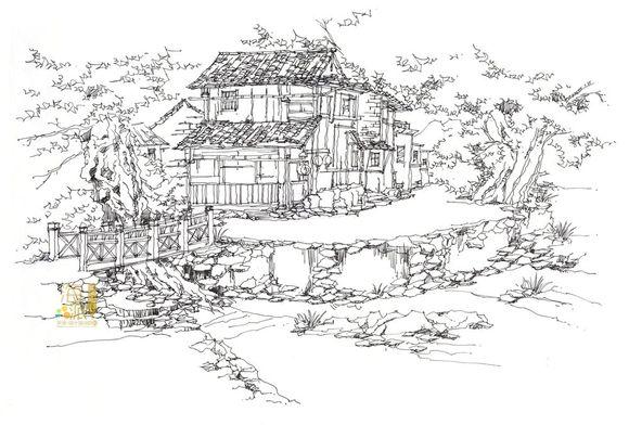 海派古建筑钢笔画图片