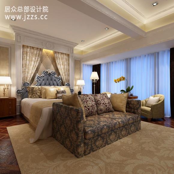 奢华感.依旧是宫廷气息的雅致传达,令人神往的优雅在卧室开