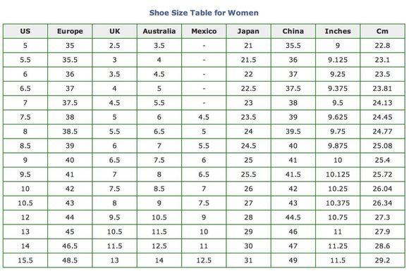 女鞋尺码表图片