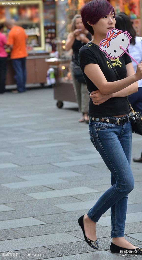 街拍学生牛仔裤图片