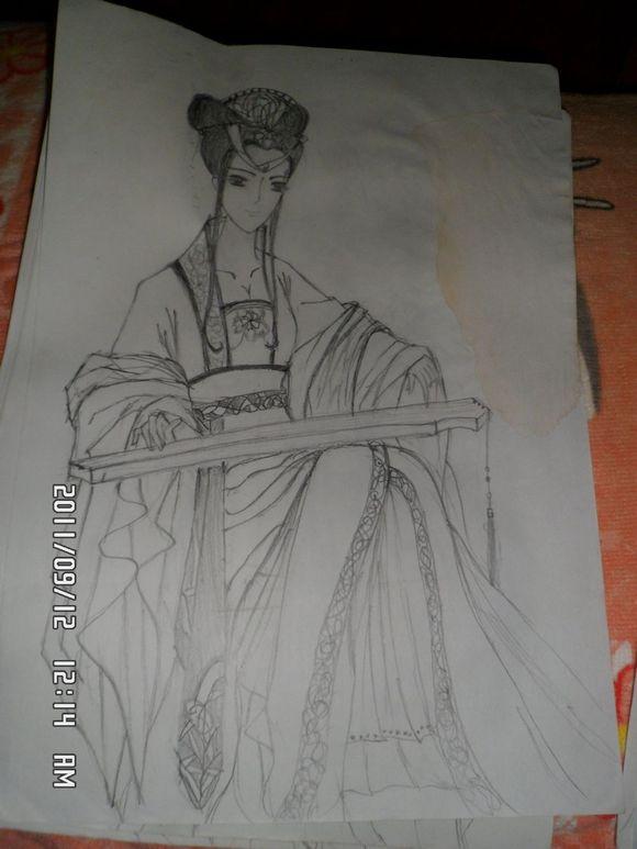 简单铅笔手绘古装美女