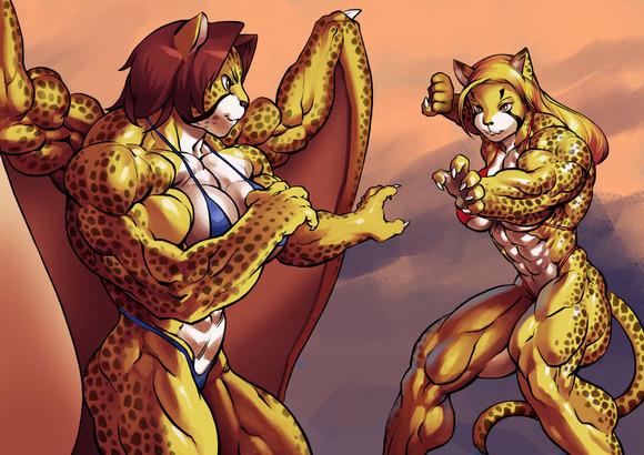 肌肉女肌肉膨胀漫画