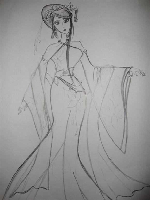 古代美女手绘图素描