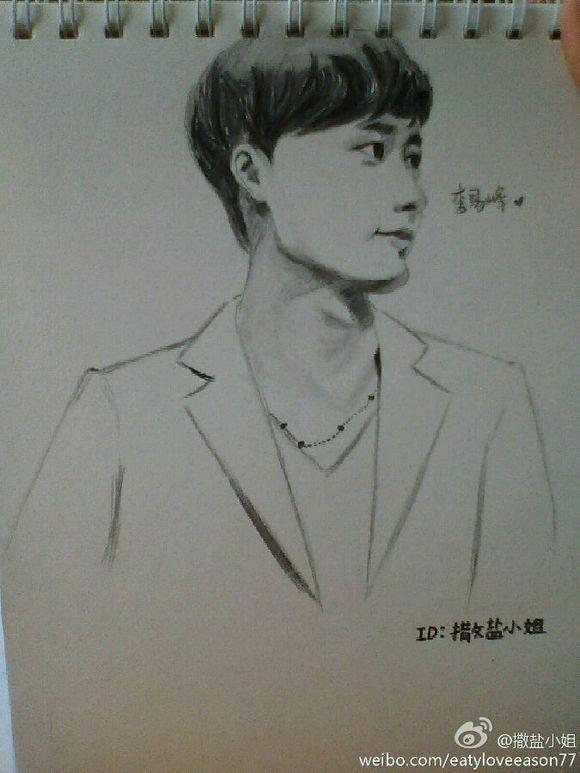 李易峰手绘素描图片