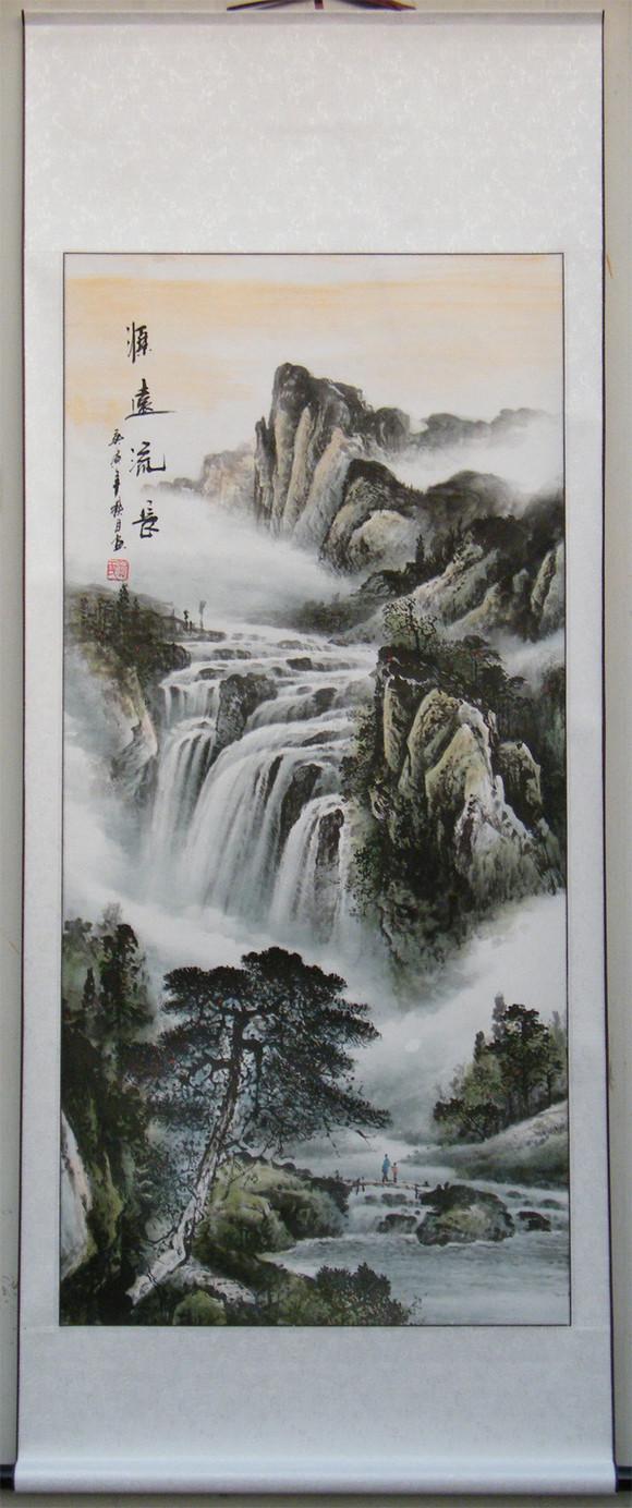 国画山水竖条幅图片