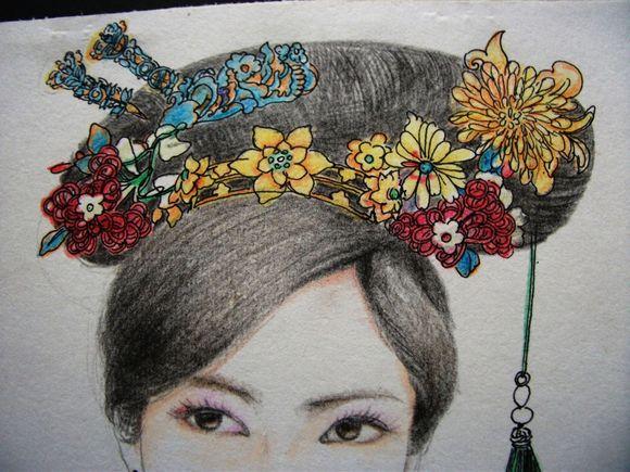 彩铅手绘古装美女
