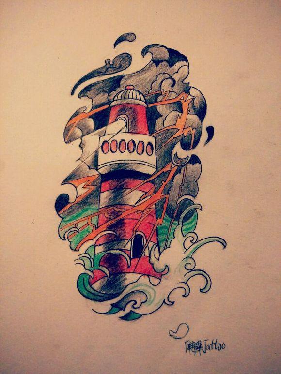 款灯塔纹身图案图片