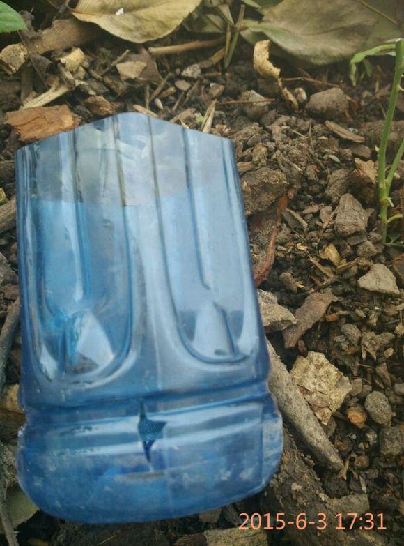 矿泉水瓶和木屑土图片