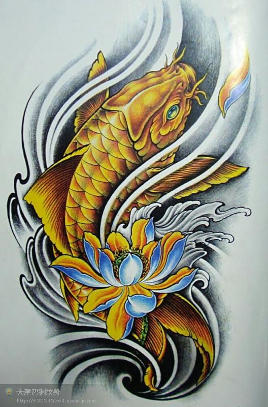 彩色传统鲤鱼莲花纹身图片图片