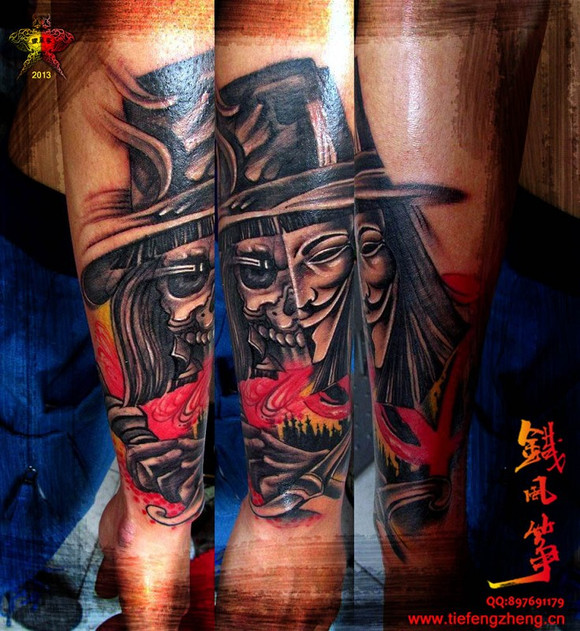 纹身图案 欧美纹身男 重彩花臂机械 > 重彩大花臂纹身作品  重彩大图片