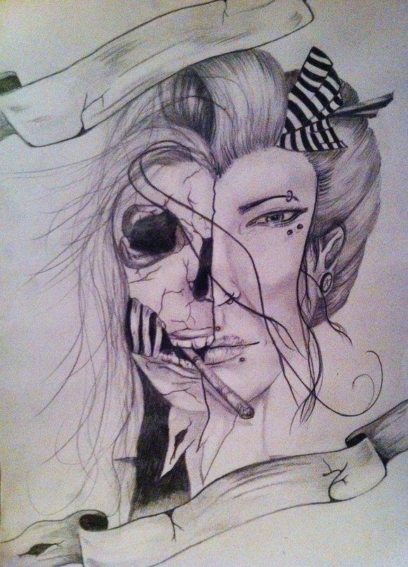 遮脸艺妓纹身手稿图分享展示图片