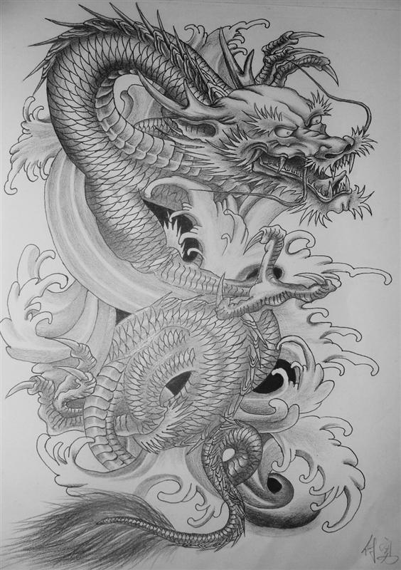 一款另类的龙美女纹身手稿图片