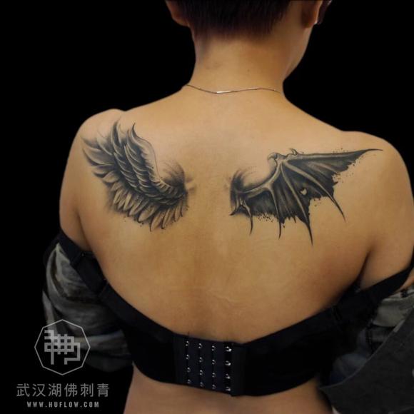 想知道一般在后背纹一对翅膀要多少钱?【武汉纹身吧】图片