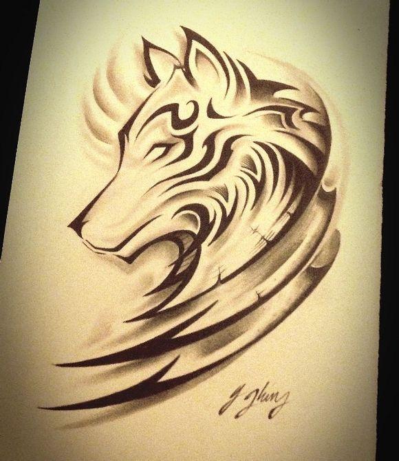 狼头纹身手稿_纹身手稿吧 (580x671)图片