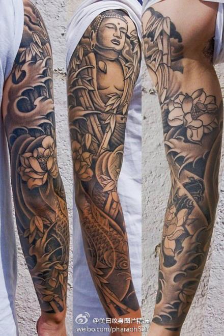 手臂观音纹身图案,花臂纹身图案图片