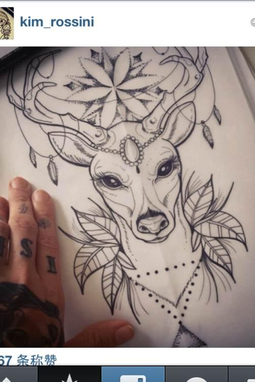 后小腿时尚图腾纹身图片