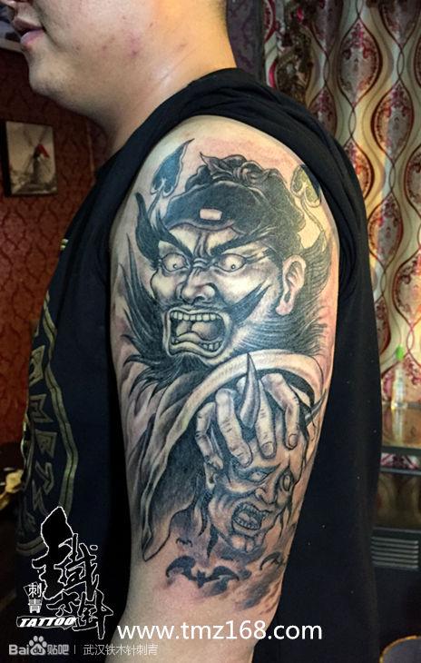 武汉纹身铁木针刺青纹身作品手臂钟馗纹身图案遮盖胎记纹身图片