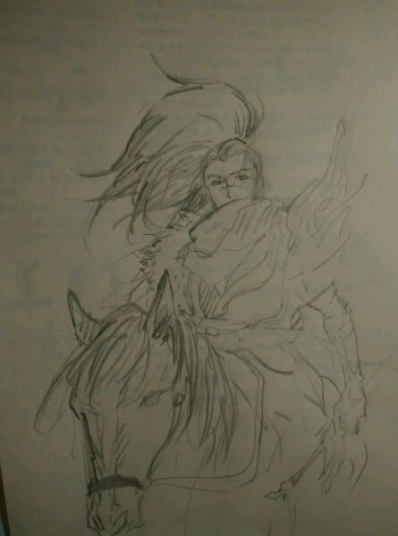 亚索笔简笔画_上弦月里三十多章时战马上的亚索.[涂鸦风]