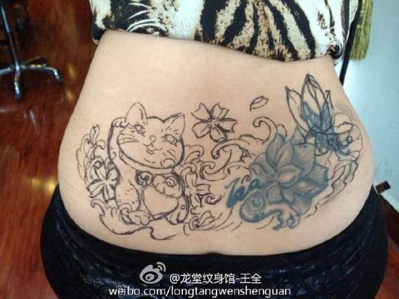 手稿霸气招财猫纹身图案 (580x435)图片