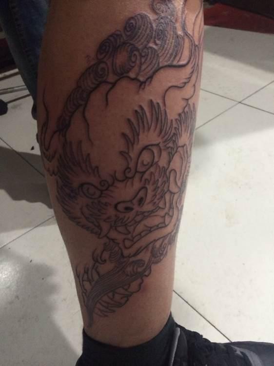 包小腿 唐狮牡丹_纹身吧图片