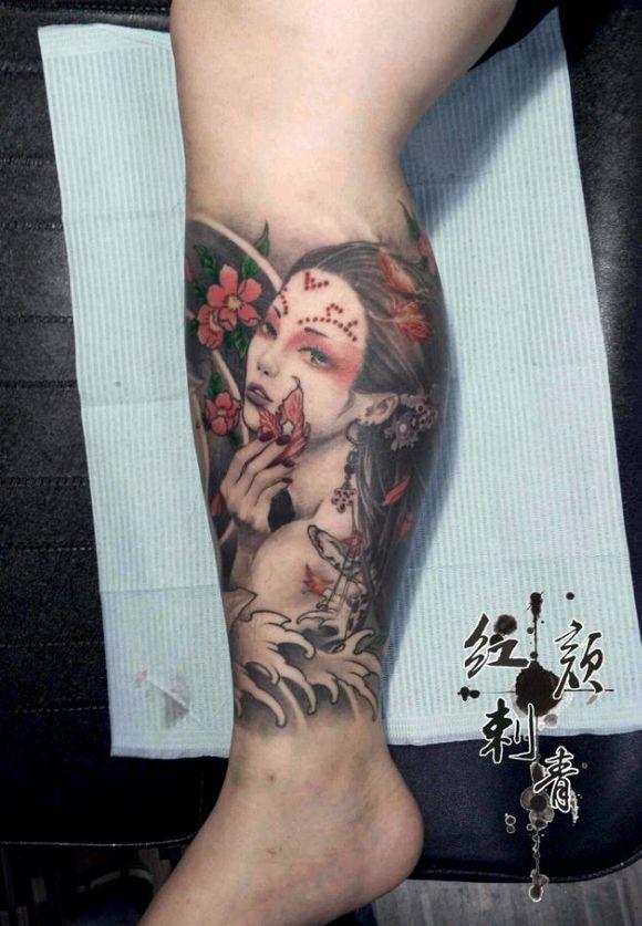 艺妓小腿纹身线条图案分享展示图片