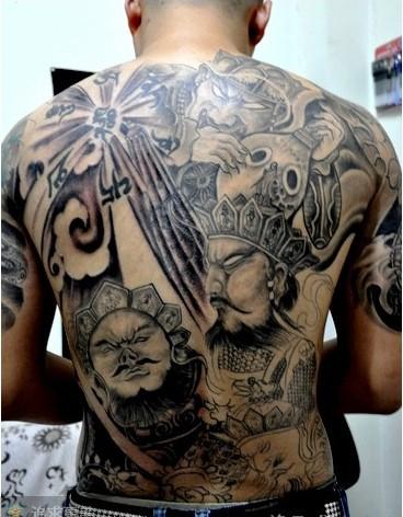 四大天王花腿纹身图片图片