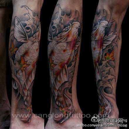 求一个牡丹鲤鱼纹身图案!小弟回老家打算纹小腿图片