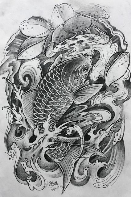 鱼素材手稿概念纹身分享植入包装设计的黑白展示图片