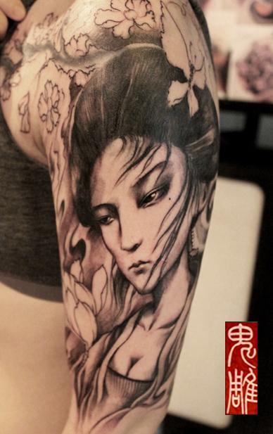 花旦艺妓纹身手稿大全展示图片