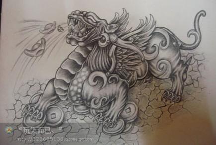 龙生九子睚眦纹身图片网