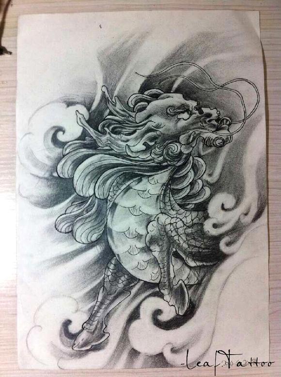 纹身图案 麒麟小臂纹身手稿 > 刺青手稿—烈火麒麟  刺青手稿—烈图片