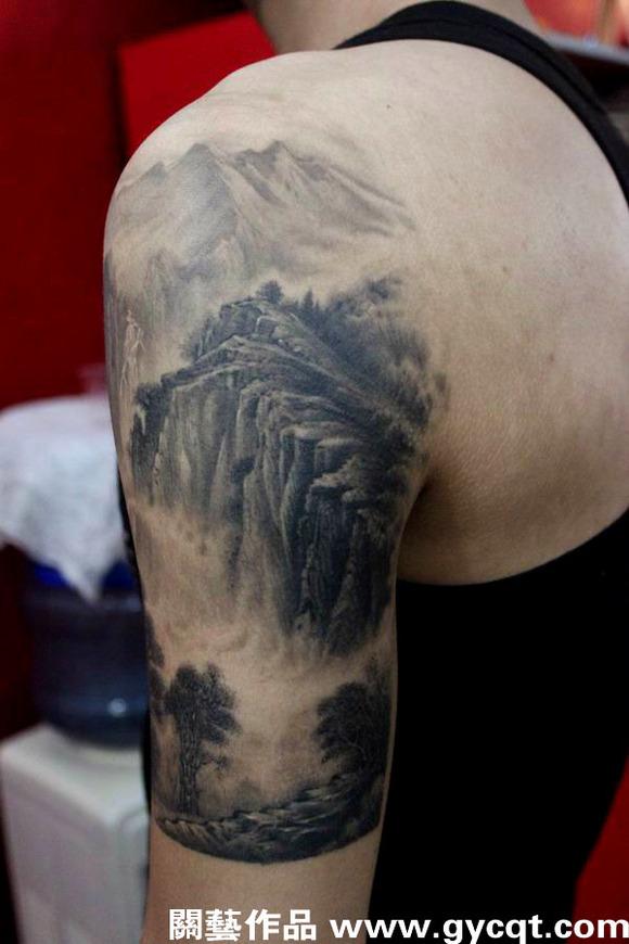 珠海名人纹身关艺中国水墨山水作品请多指教 (580x870)图片