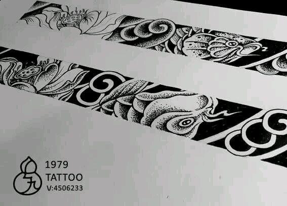 手臂几何元素手环纹身图案图片