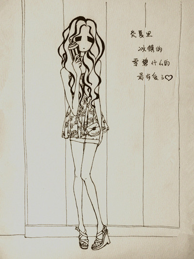 hemp卷发女孩 手绘插画图片