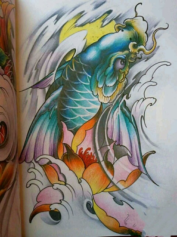 【图片】鲤鱼纹身手稿,喜欢的加微信13808994506【吧图片