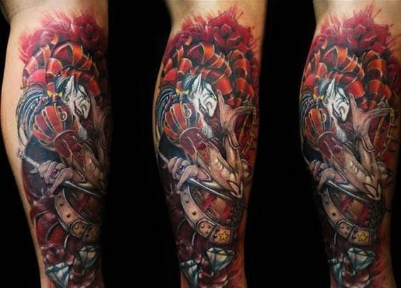 重庆刺青:转载一组花腿纹身图片