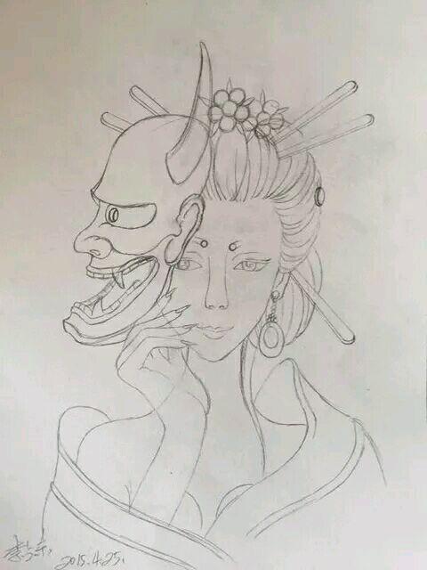 后背一款超炫艺妓蝴蝶纹身图案图片