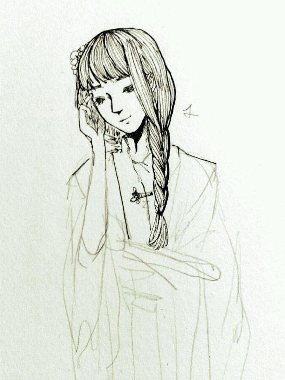 丝的黑头发的女孩子图片