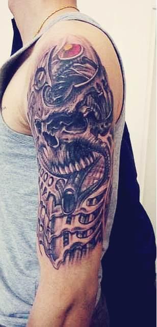 骷髅关公踏邪龙纹身分享展示图片