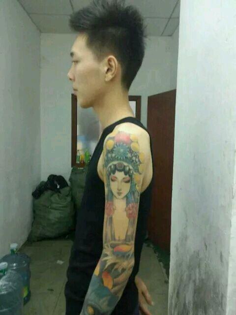 经典花旦面具花臂纹身图案_纹身图案图片