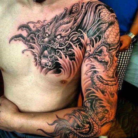 过肩龙纹身图案图片