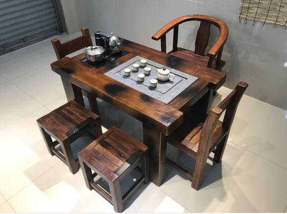老船木家具 海螺螺孔茶台 龙骨泡茶桌 厚重粗矿图片