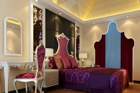 简欧时尚床头背景墙-烟台实创装饰精品案例图片